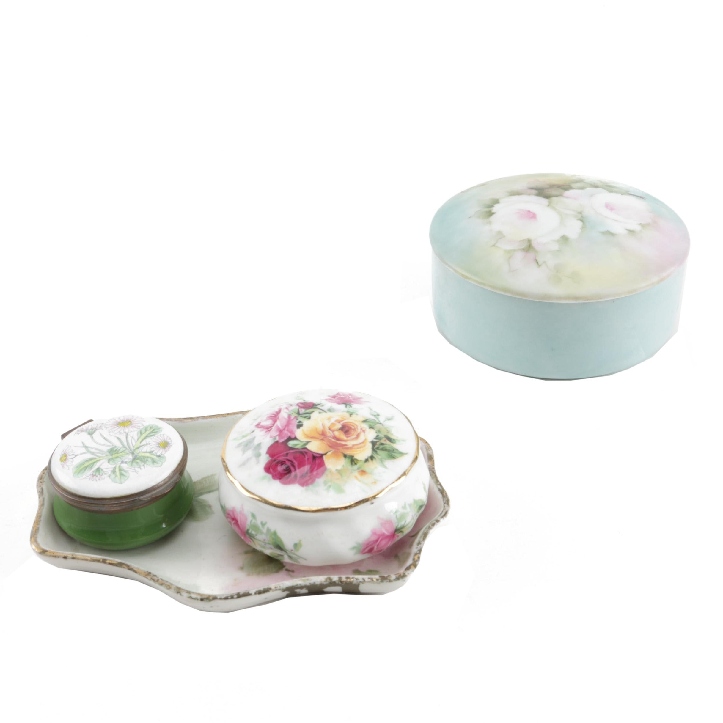 Porcelain Trinket Boxes and Tray