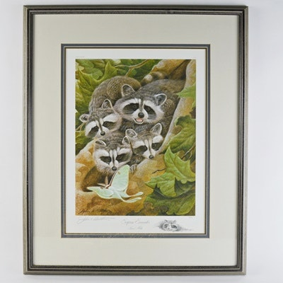 """John Ruthven Limited Edition Offset Lithograph """"Surprise Encounter"""" and Remarque"""