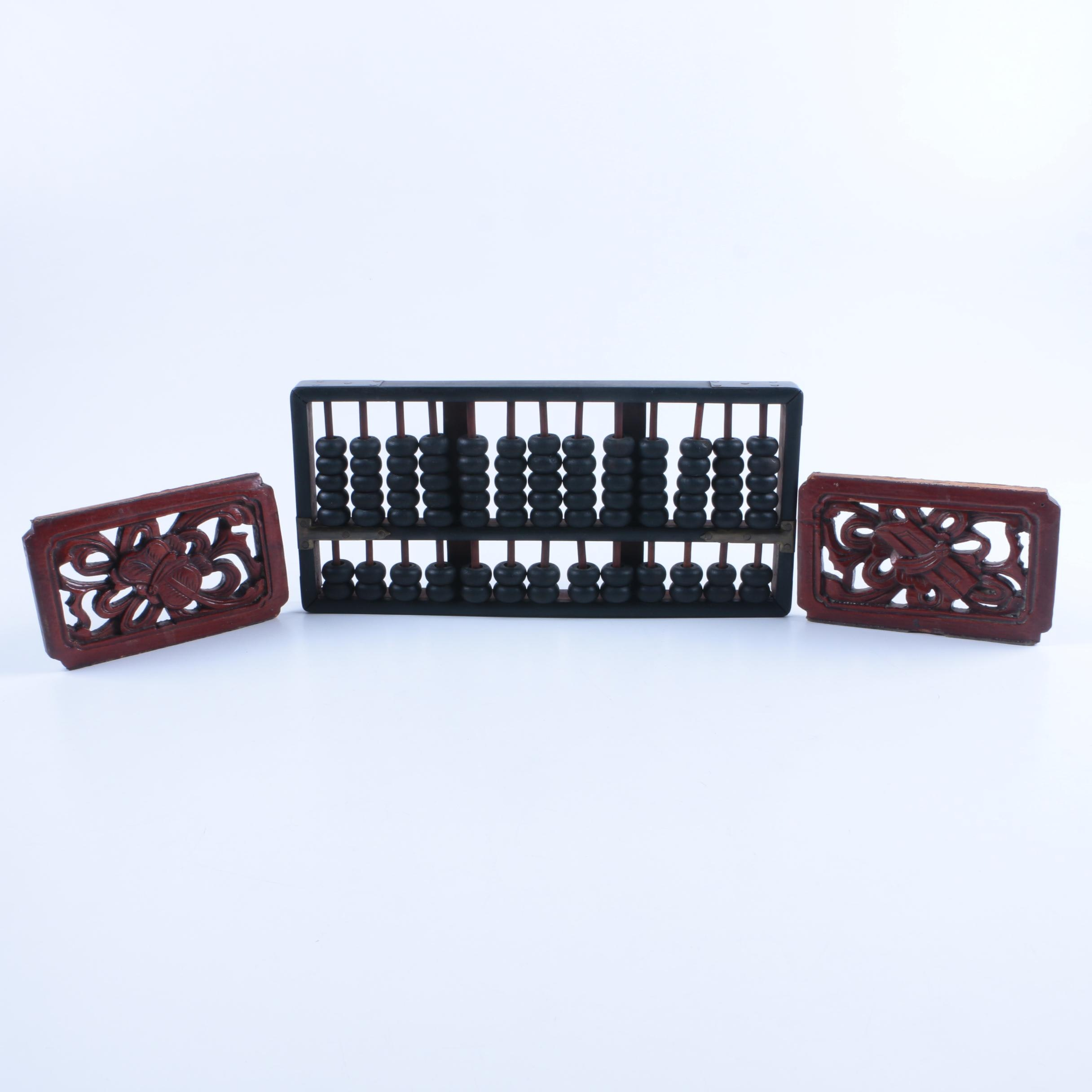 Chinese Abacus and Wood Carvings