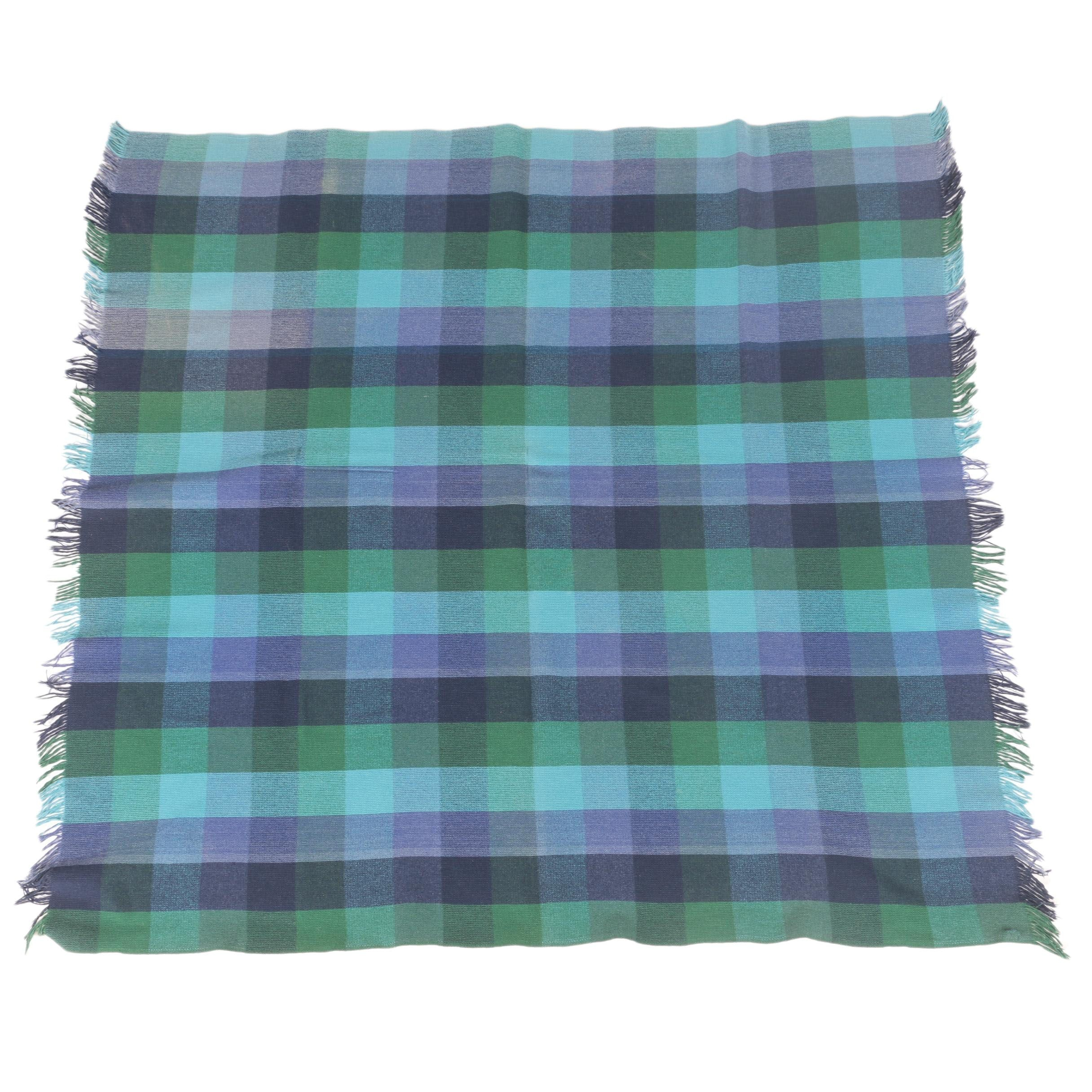 Blue and Green Plaid Throw