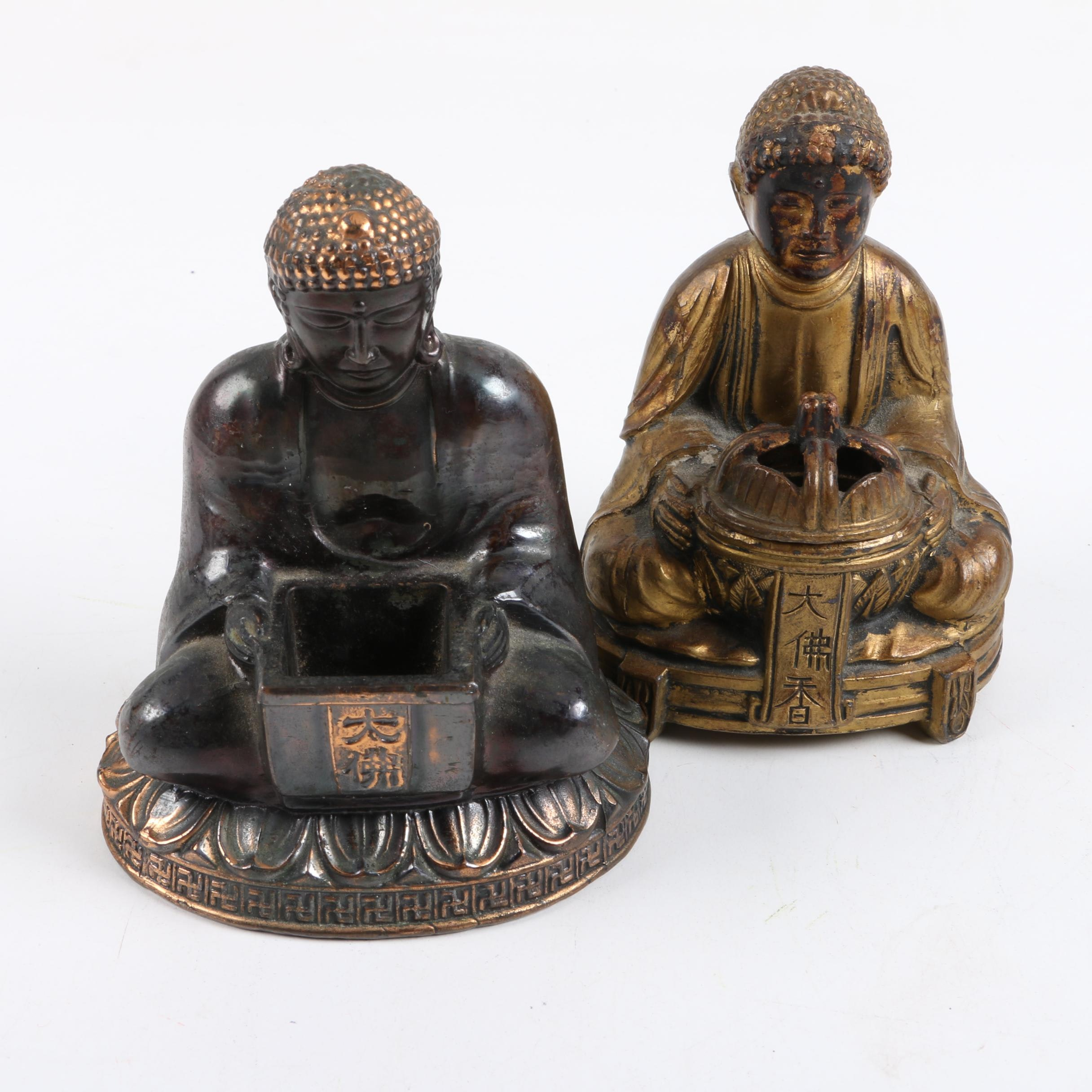 Pair of Chinese Metal Sitting Buddha Incense Burners