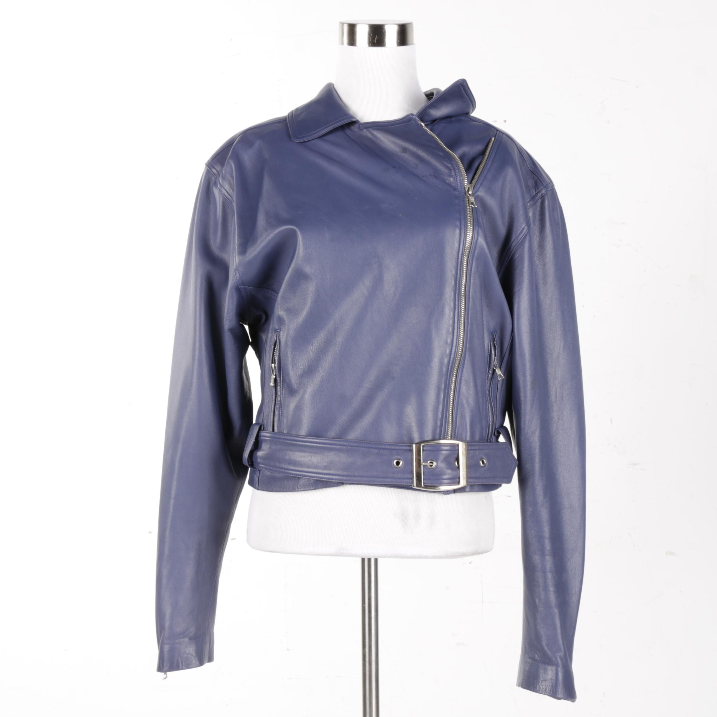 Women's John Michael Dusty Blue Leather Jacket
