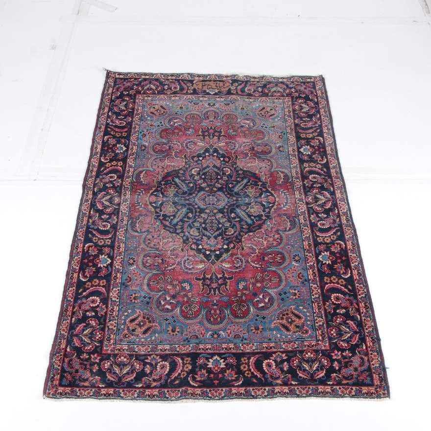 Hand Knotted Persian Wool Area Rug Ebth: Hand-Knotted Signed Persian Sarouk Wool Area Rug