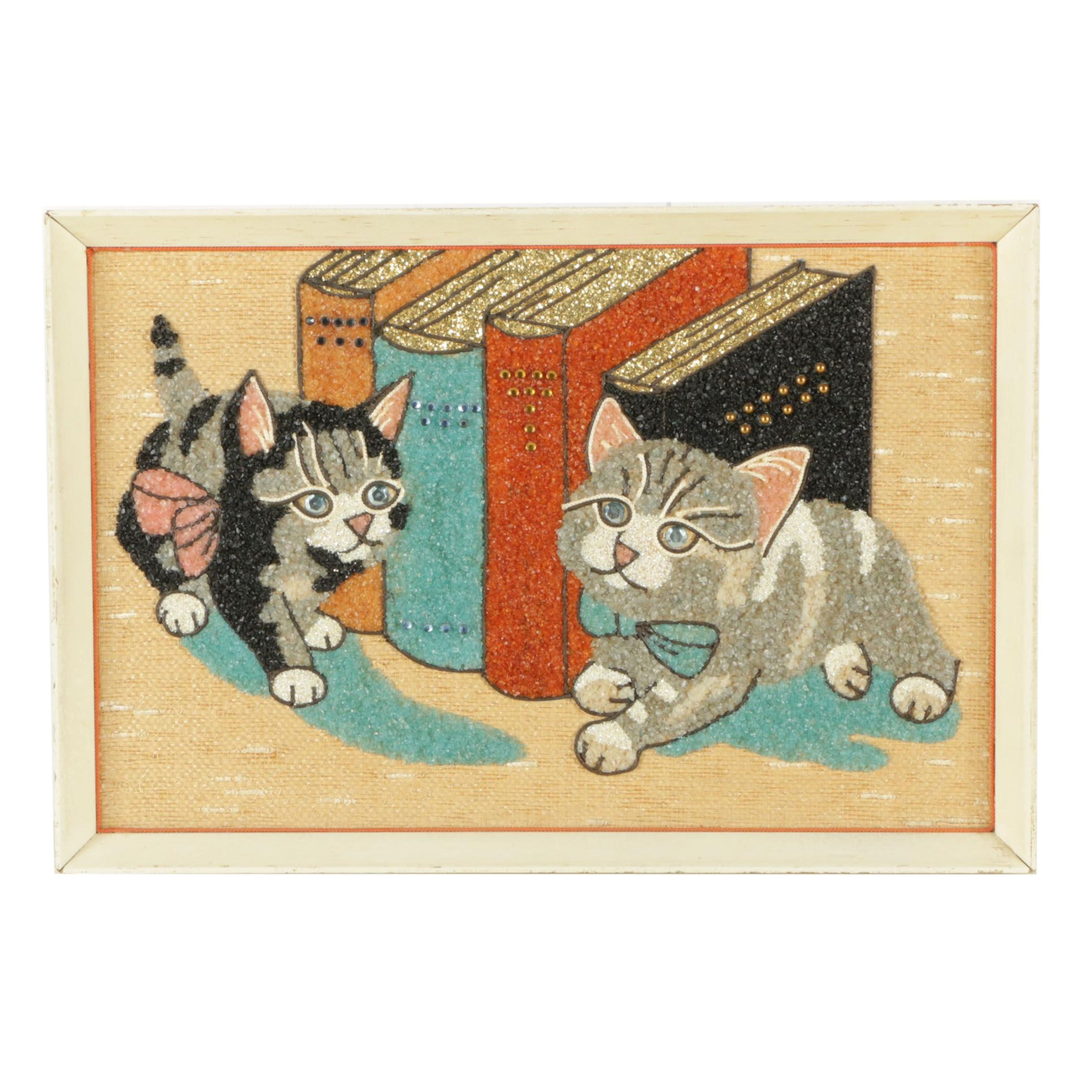 Stone and Glitter Mosaic of Kittens and Books