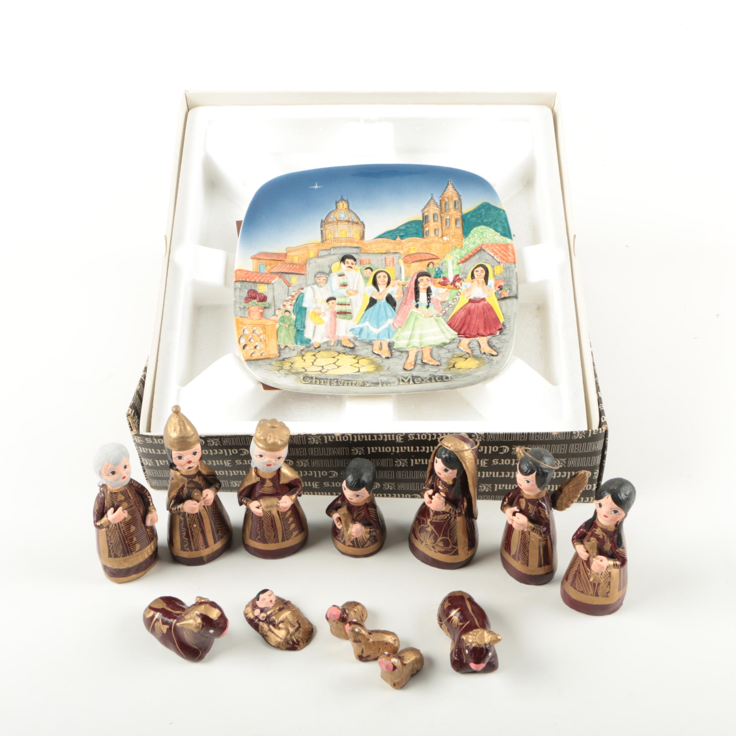 """Royal Doulton """"Christmas in Mexico"""" Plate with Mexican Nativity Figurines"""