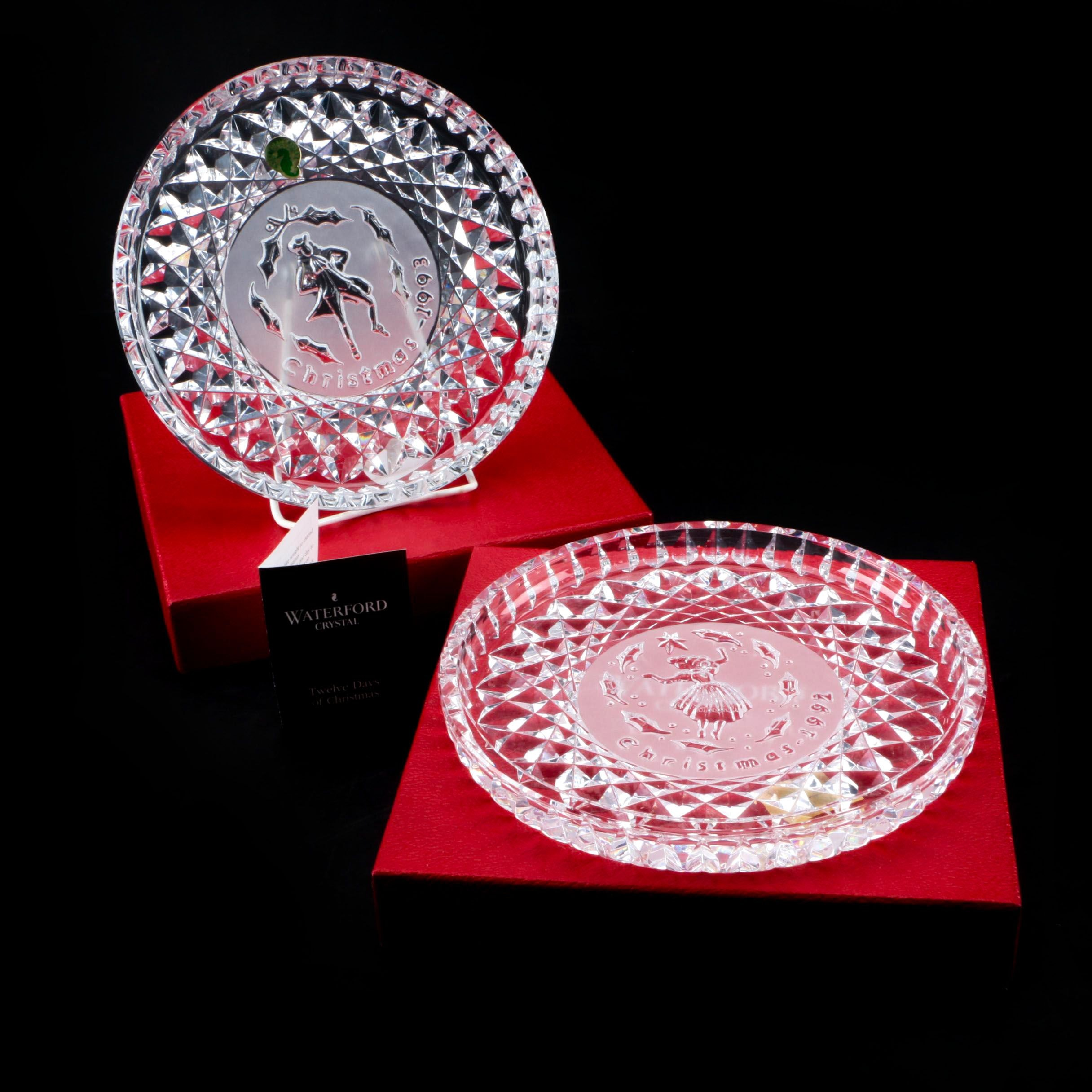 "Waterford Crystal  ""Twelve Days of Christmas"" Plates 1992 and 1993"