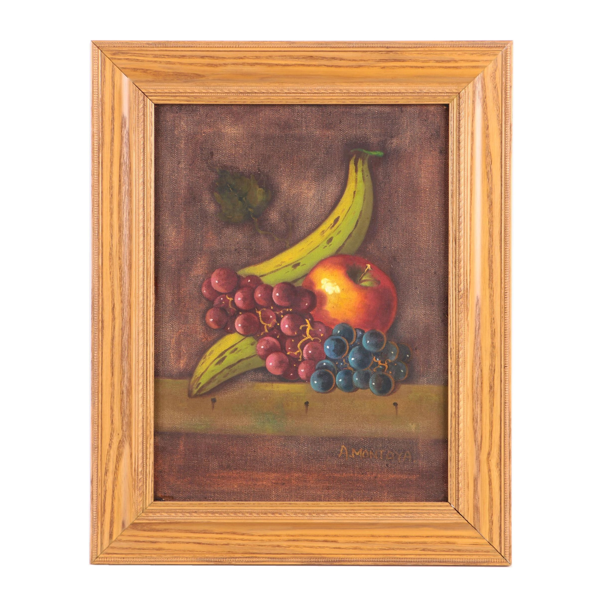 A. Montoya Oil on Canvas Still Life of Fruit