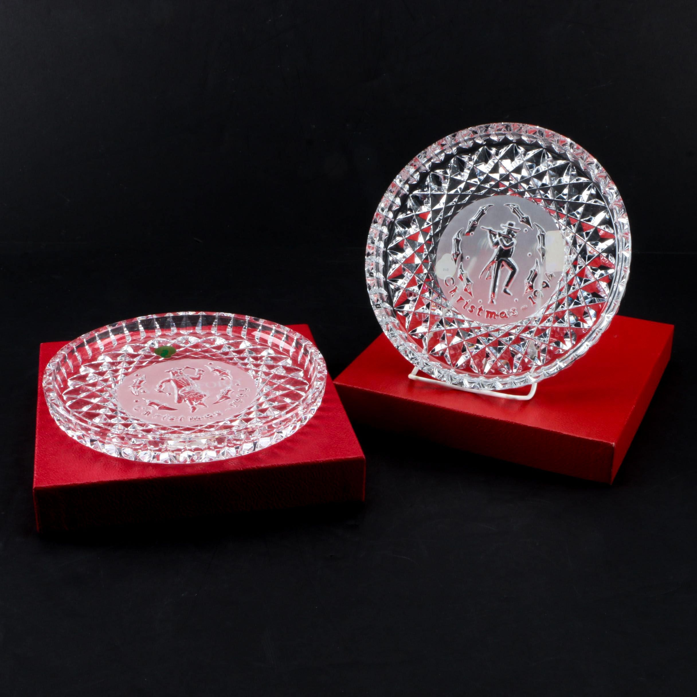"Waterford Crystal ""Twelve Days of Christmas"" Plates 1994 and 1995"