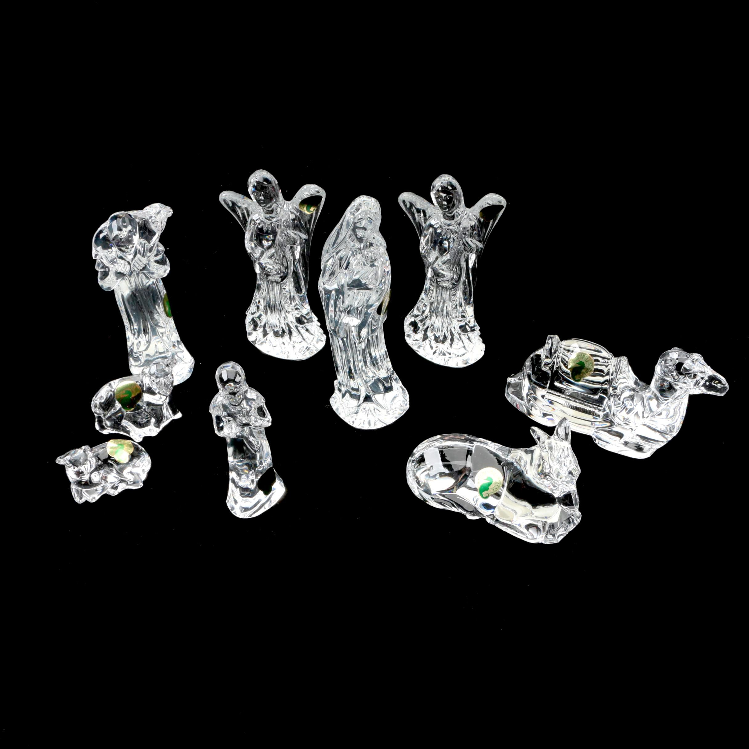 Crystal Nativity Figurines Featuring Waterford