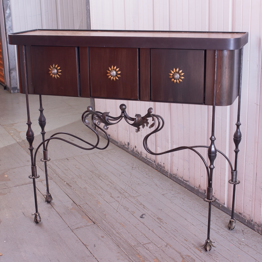 Console Table with Metal Base
