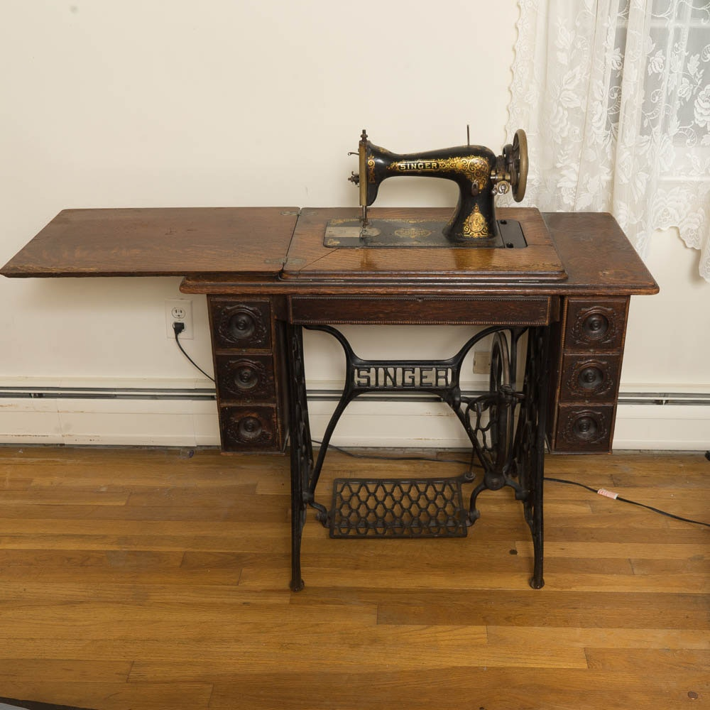 Antique Singer Treadle 1910 Sewing Machine | EBTH