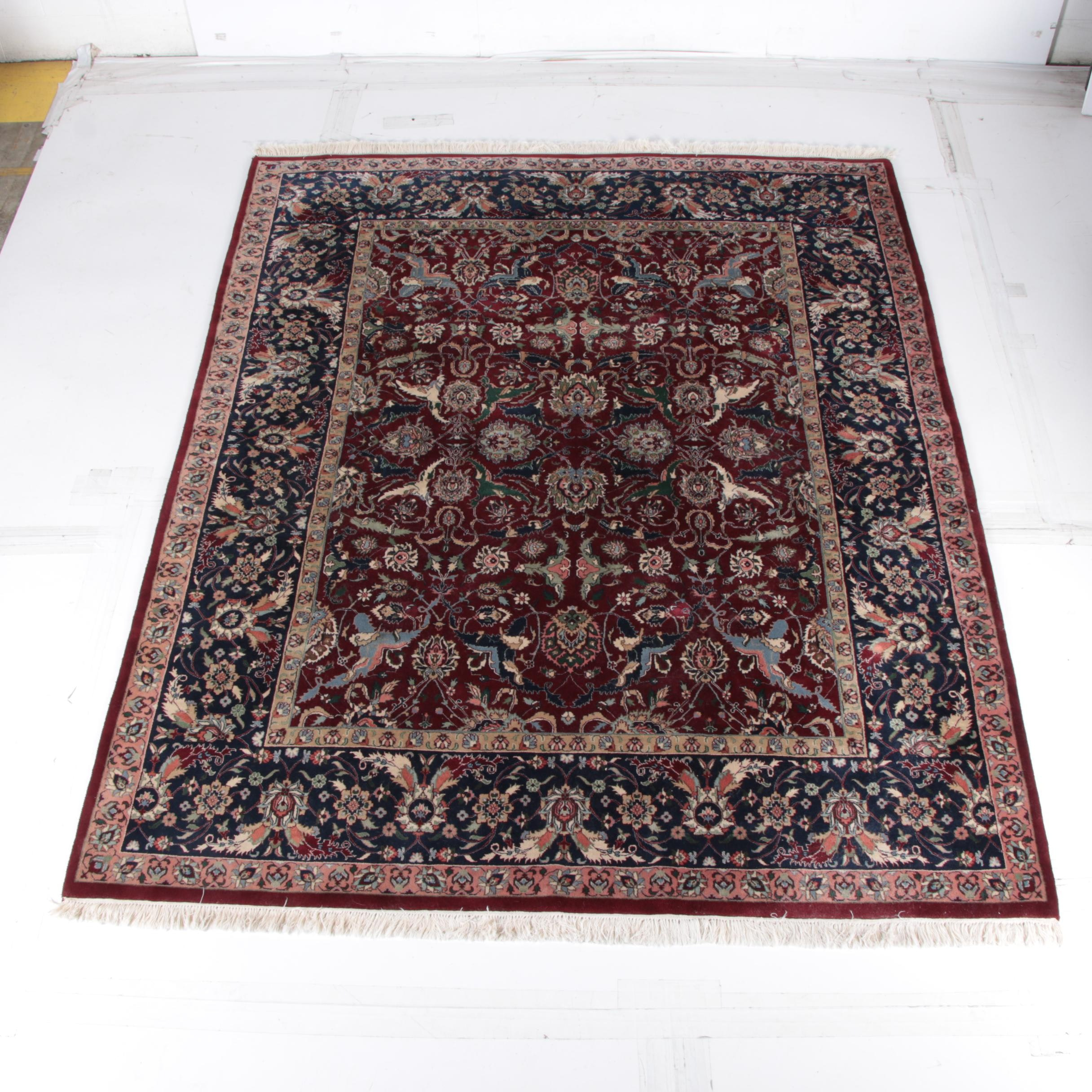 Hand-Knotted Indo-Persian Peshawar Style Wool Area Rug