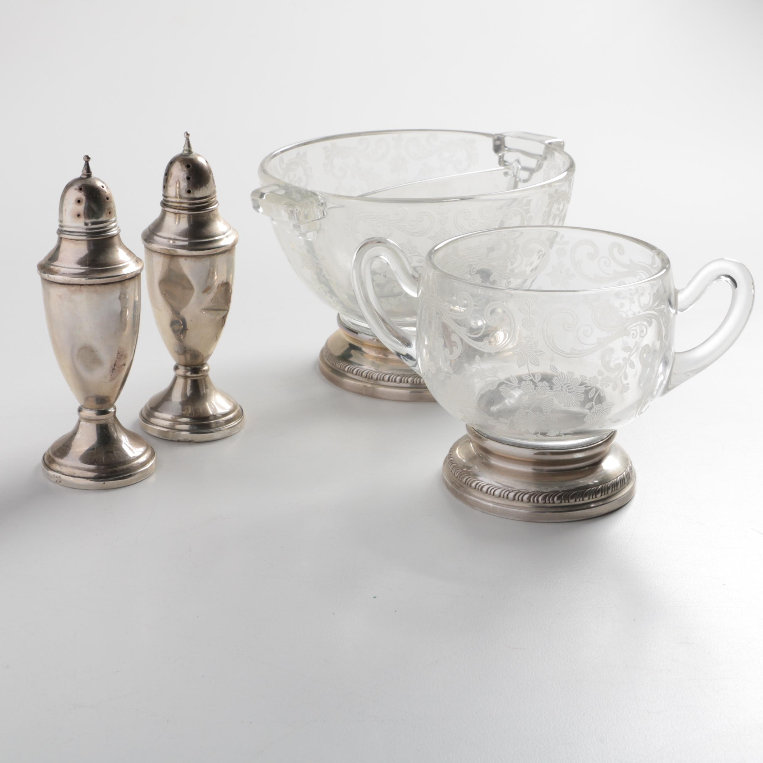 Sheffield Silver Co. Glass and Sterling Tableware with Weighted Shakers