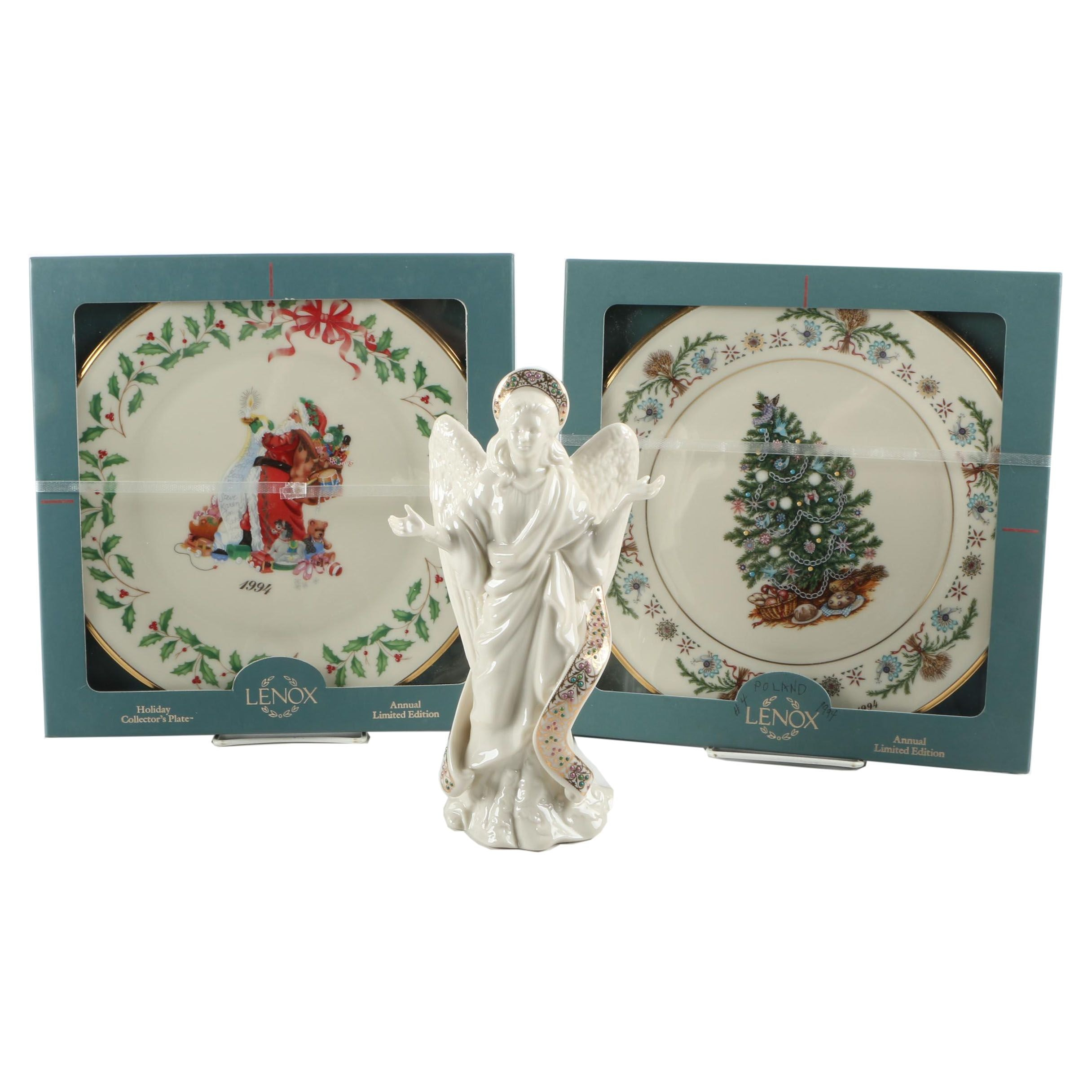 "Lenox Limited Edition Christmas Plates and 1995 ""Angel of Light"" Figurine"