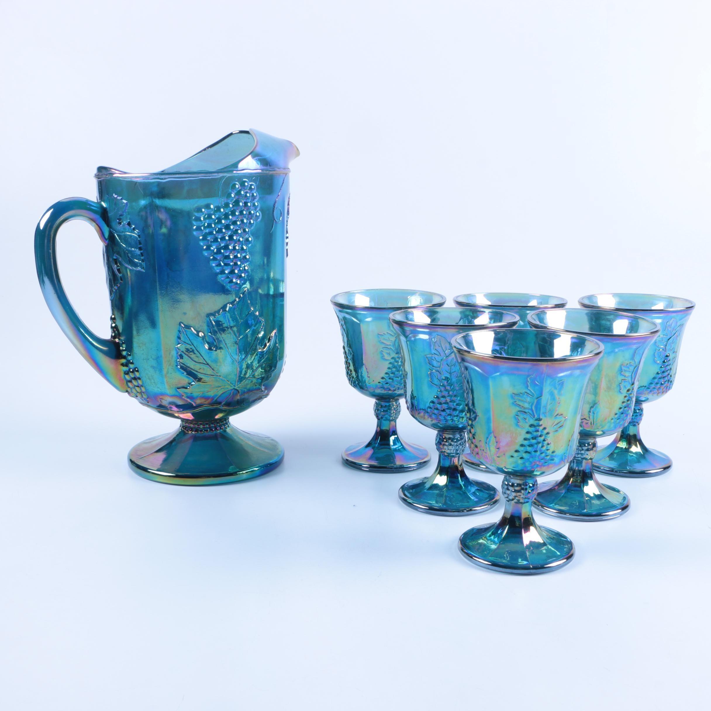 "Indiana Glass Co. ""Harvest Grape"" Blue Carnival Glass Pitcher Set"