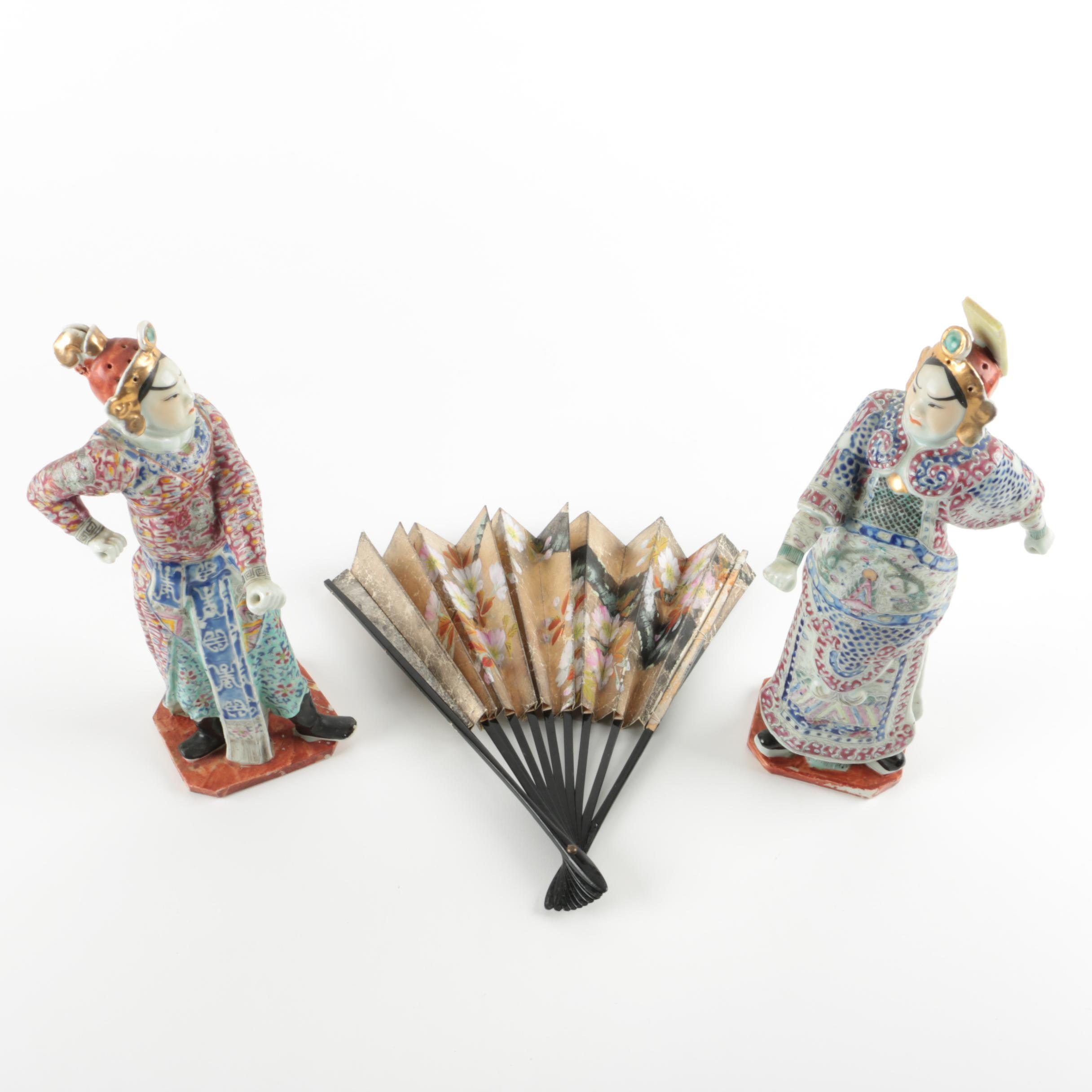 Ceramic Asian Figurines and Fan