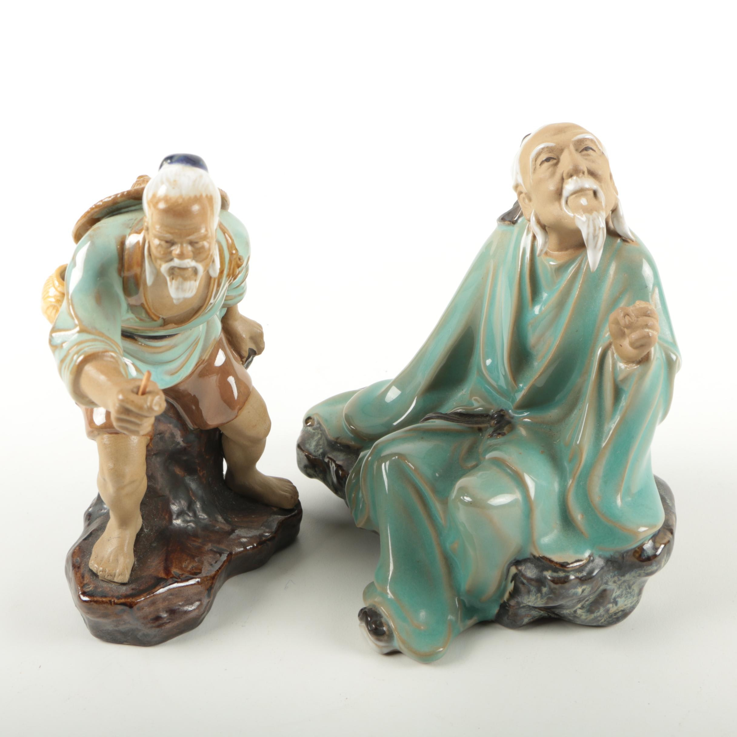 Pair of Chinese Shiwan Ware Figurines