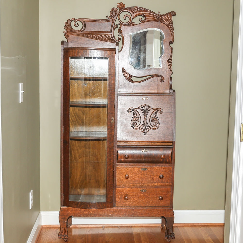 Antique Side-by-Side Late Victorian Bookcase Secretary