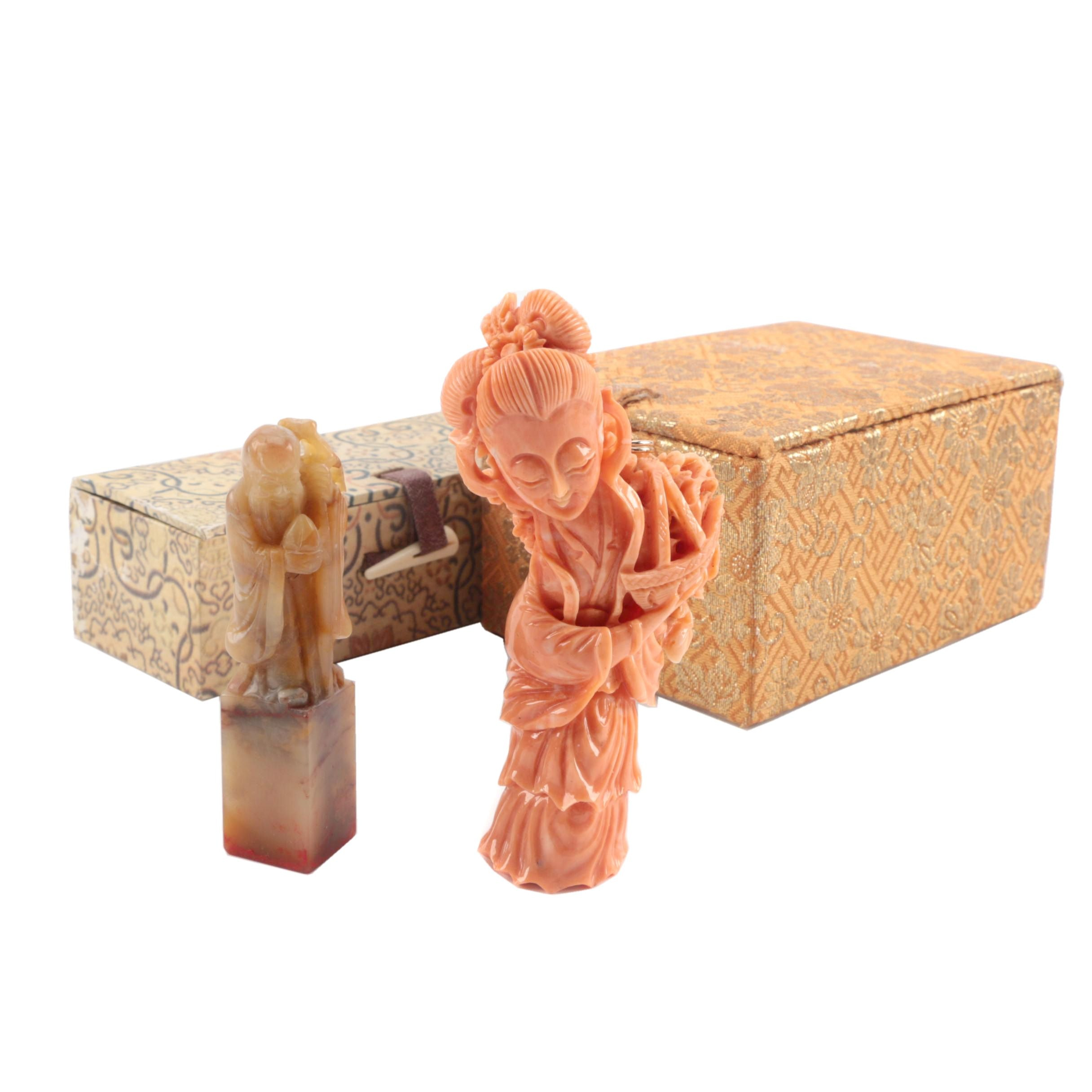 Chinese Carved Stone Ink Stamp and Coral Colored Stone Pendant