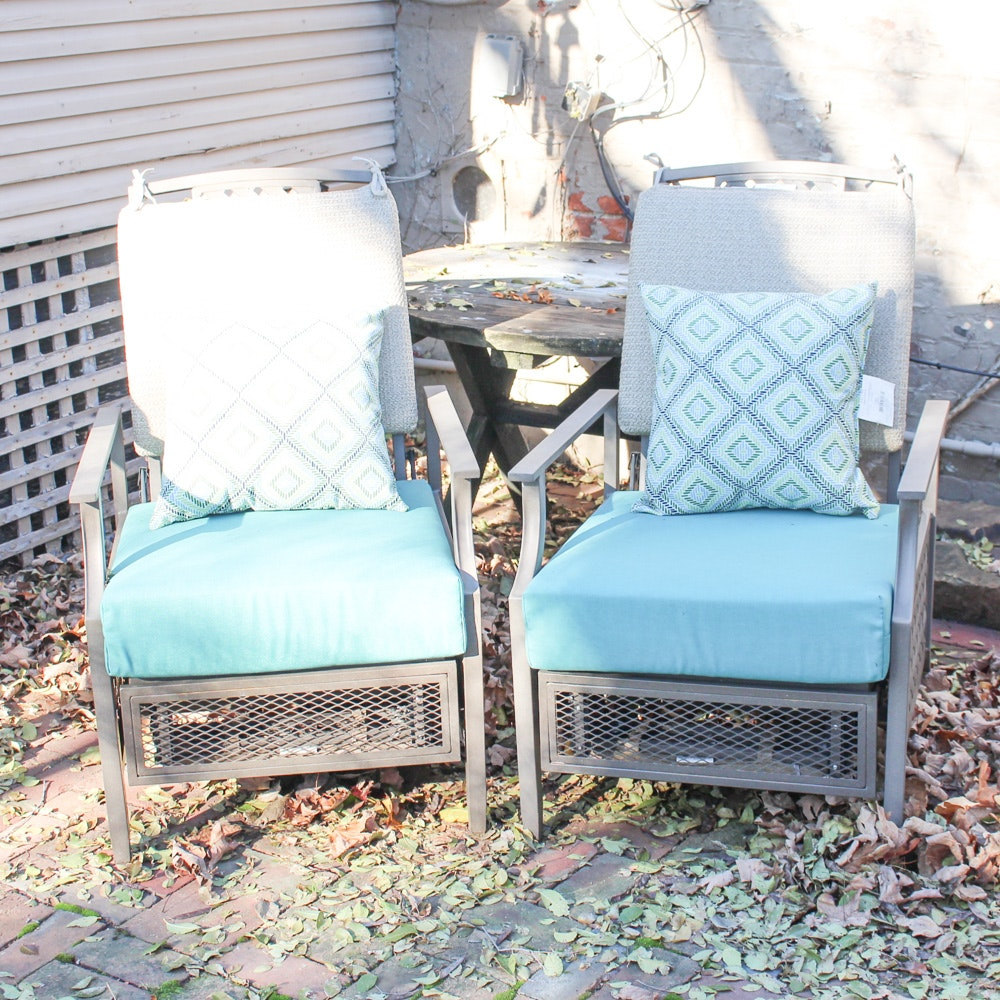 Four La-Z-Boy Metal Frame Patio Chairs