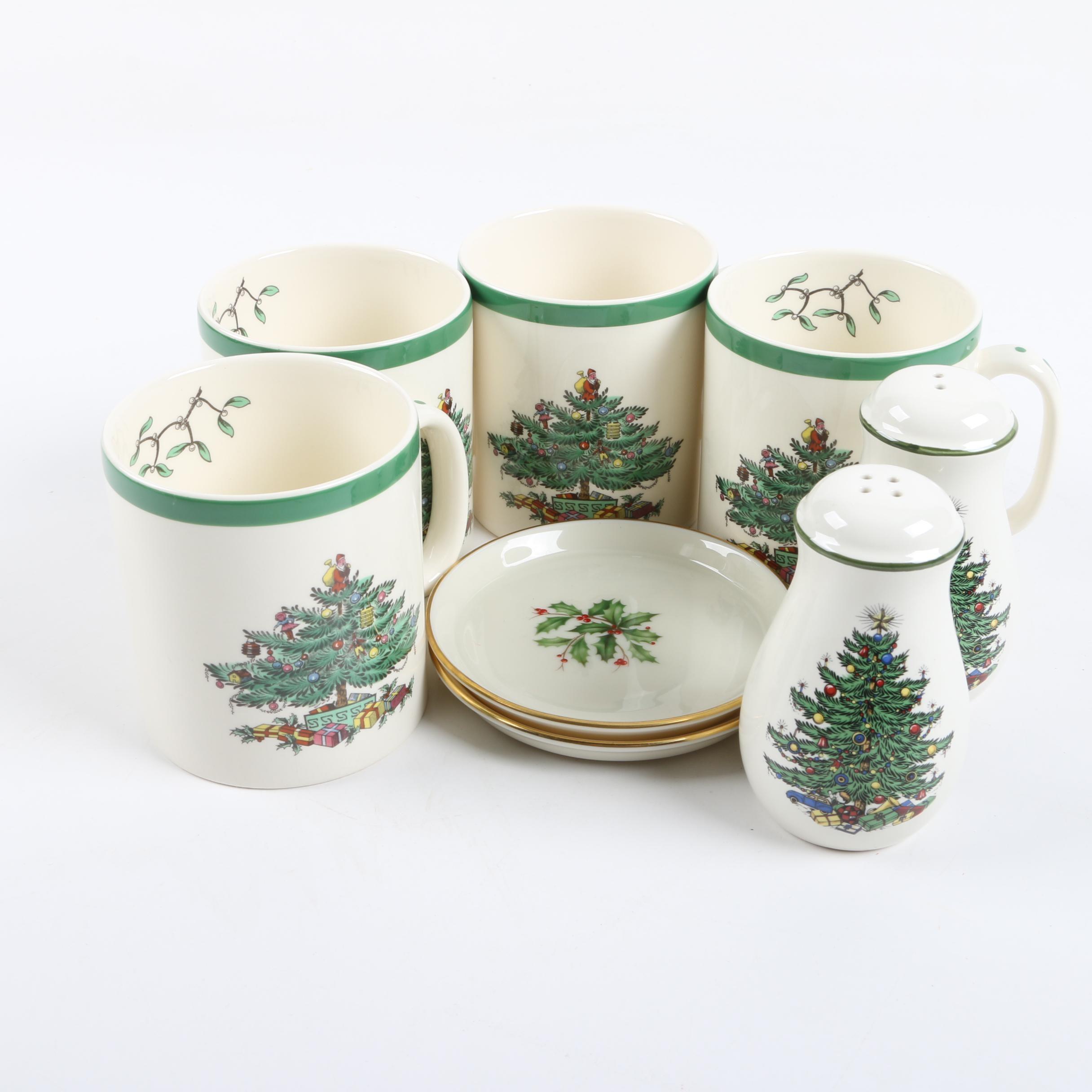 """Lenox """"Holiday"""" Plates and Spode """"Christmas Tree"""" Mugs"""