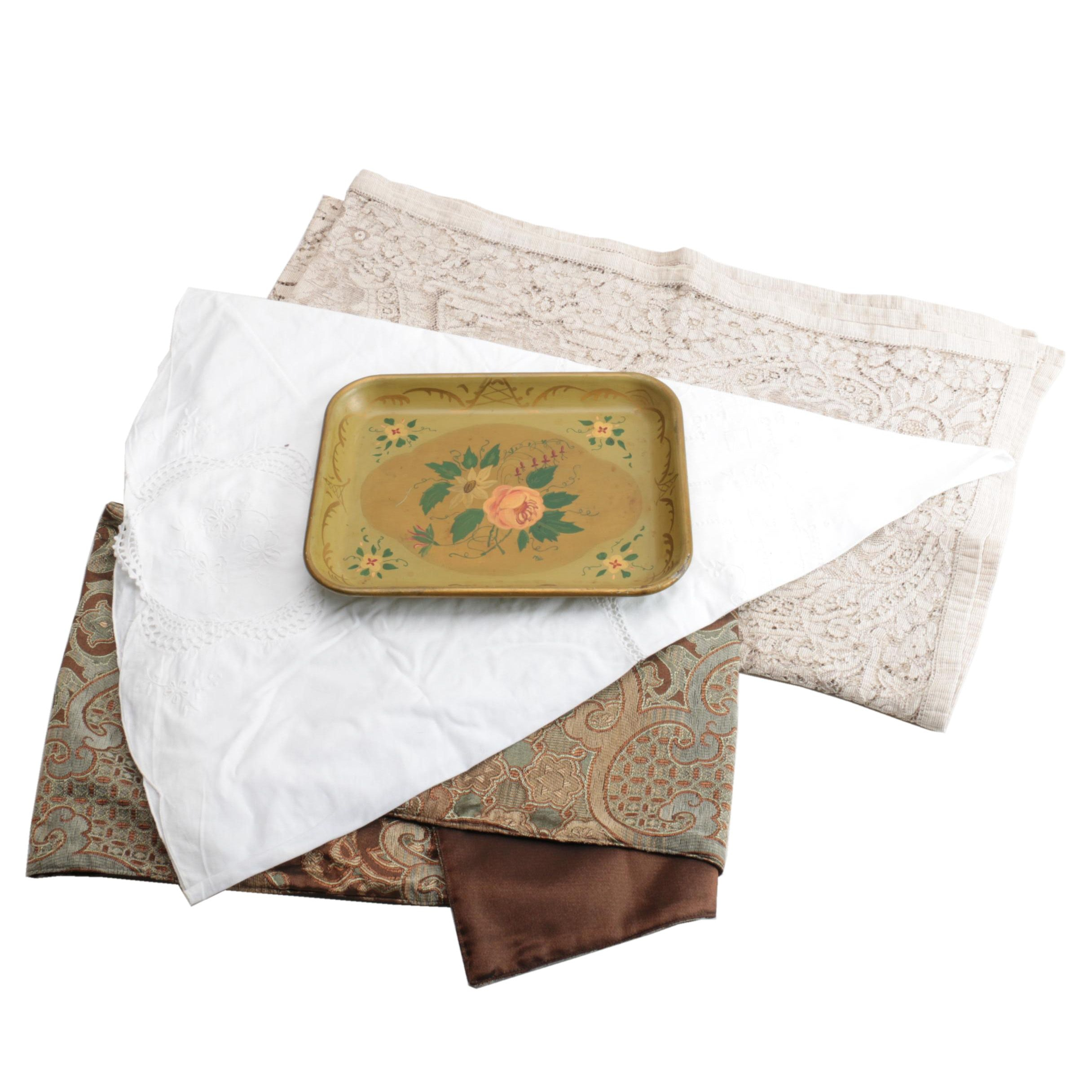 Table Linens and a Serving Tray