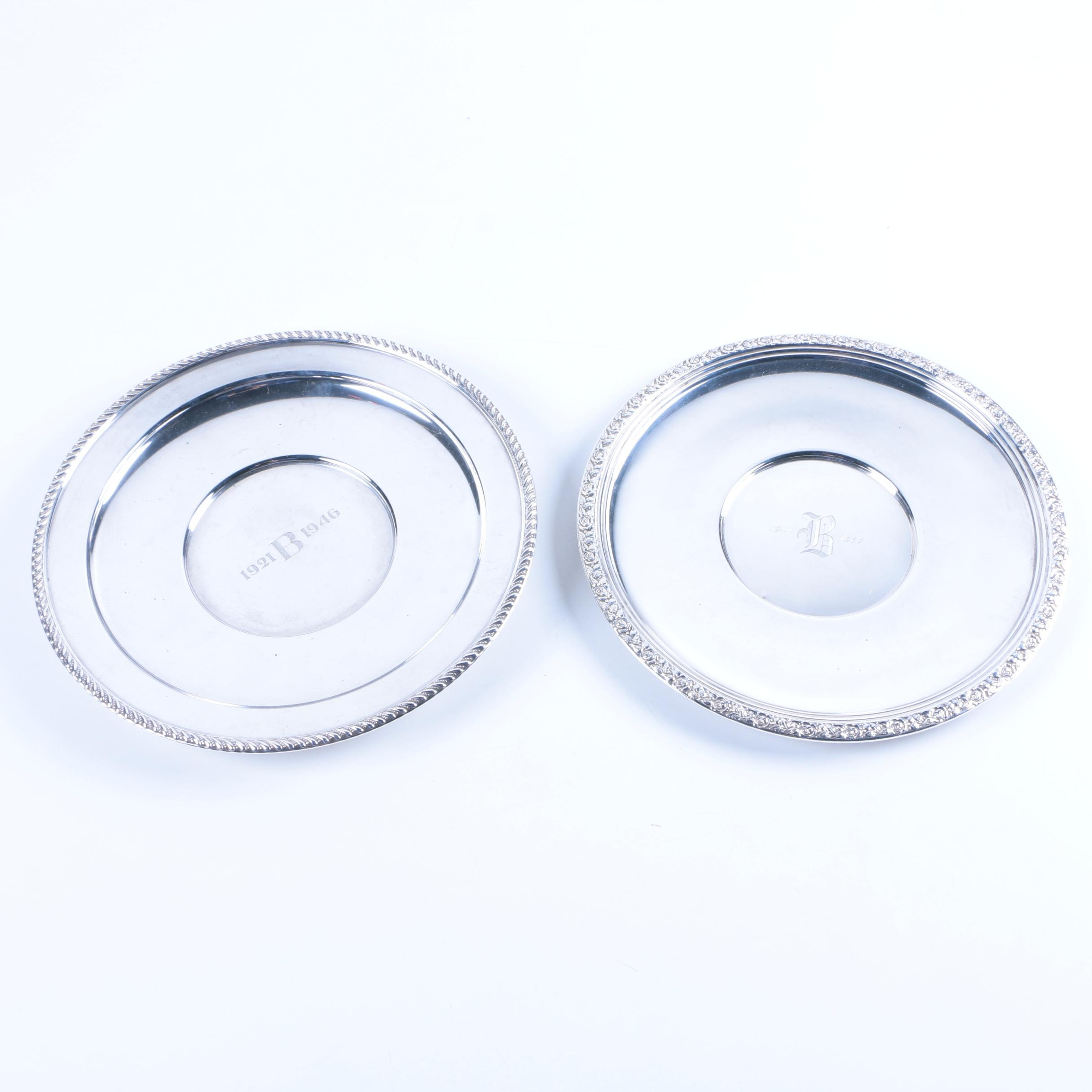 Empire and National Silver Co. Commemorative Sterling Silver Sandwich Plates