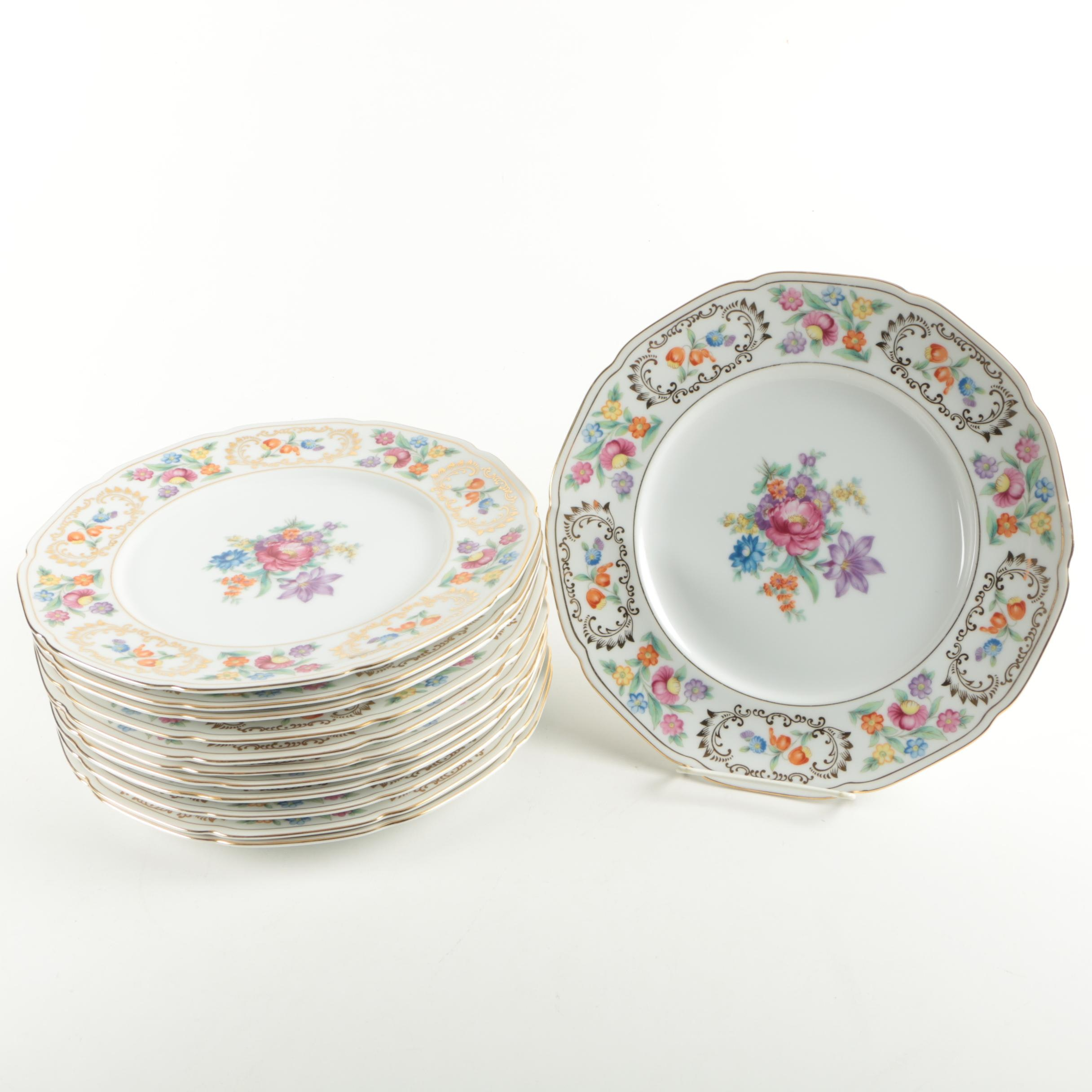 NSP China Dresden Style Hand Painted Floral Dinner Plates
