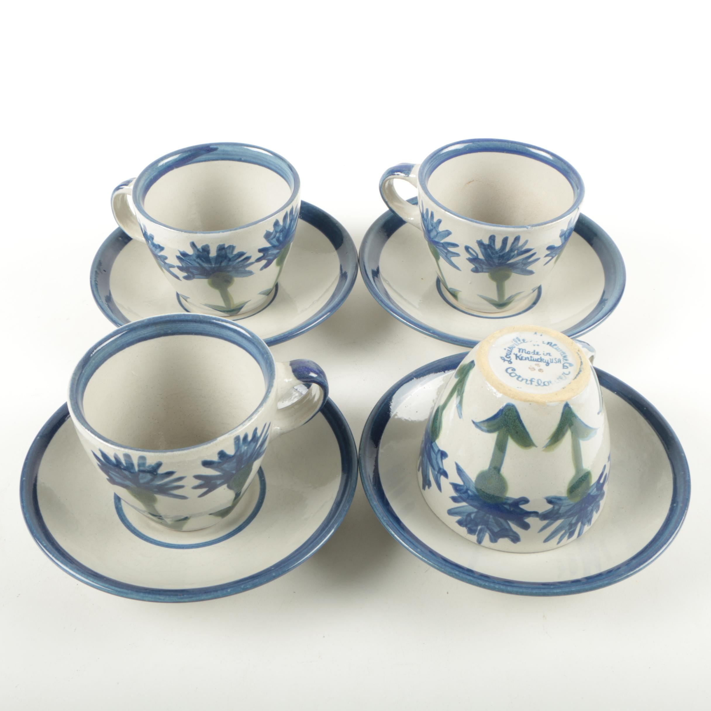 """Collection of Louisville Stoneware """"Cornflower"""" Cups and Saucers"""