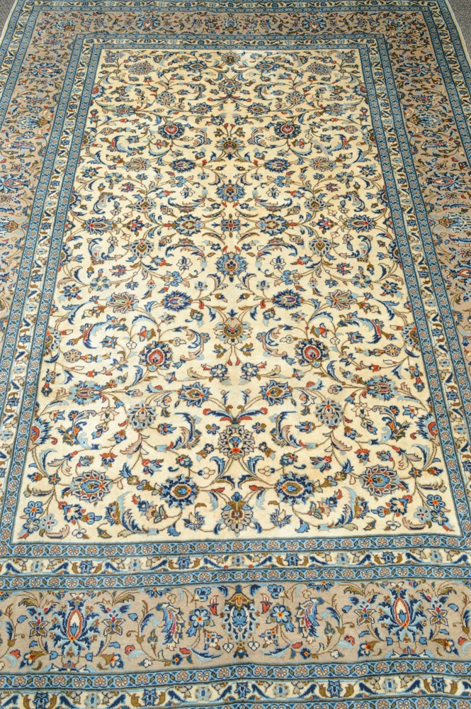 8' x 12' Fine Hand-Knotted Persian Kashan Room Size Rug