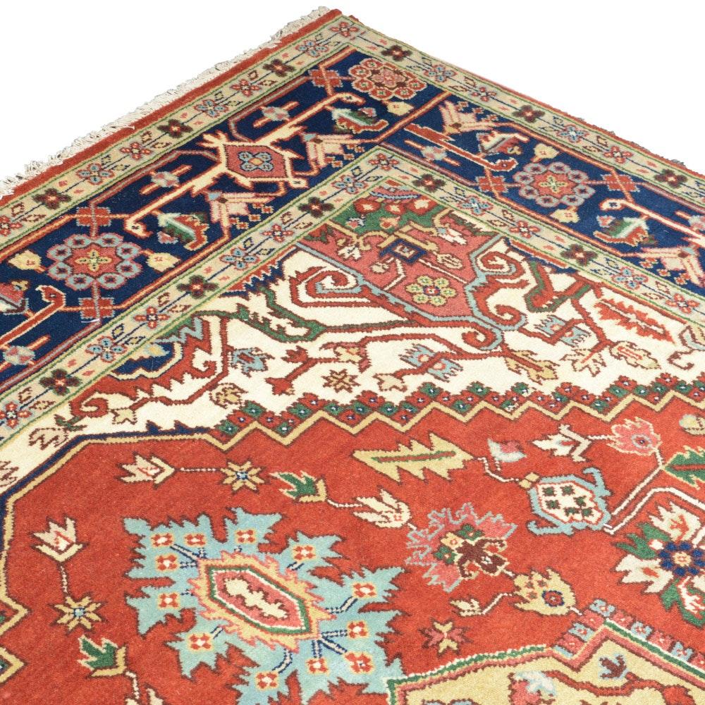 9' x 12' Hand-Knotted Indo-Persian Heriz Serapi Room Size Rug