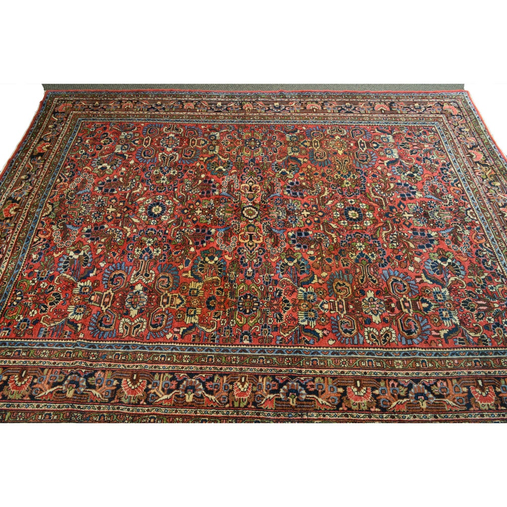 9' x 11' Antique Hand-Knotted Persian Bibikabad Room Size Area Rug