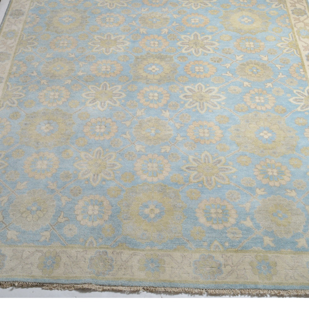 8' x 10' Fine Hand-Knotted Indo-Turkish Oushak Rug