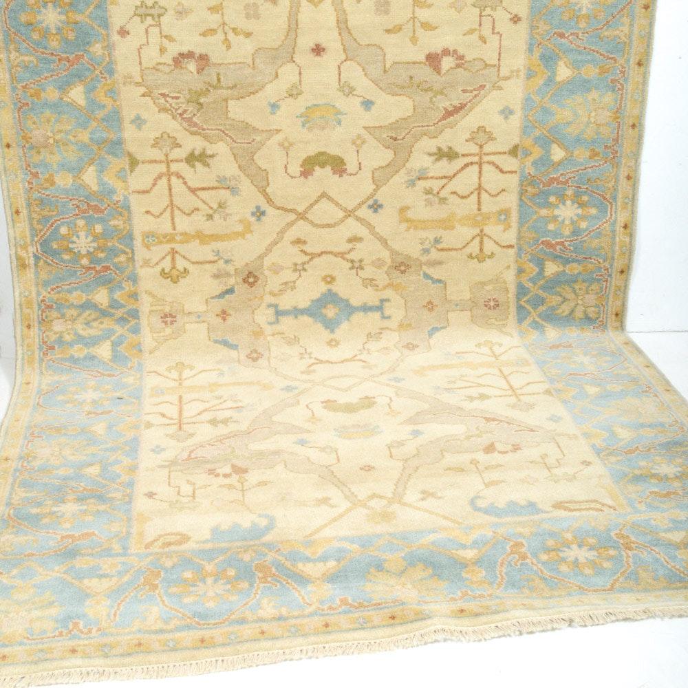 6' x 9' Hand-Knotted Indo-Turkish Oushak Rug