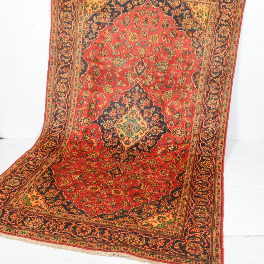 6' x 9' Semi-Antique Hand-Knotted Persian Kashan Rug