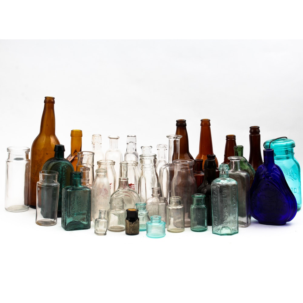 Antique Apothecary and Vintage Glass Bottle Collection