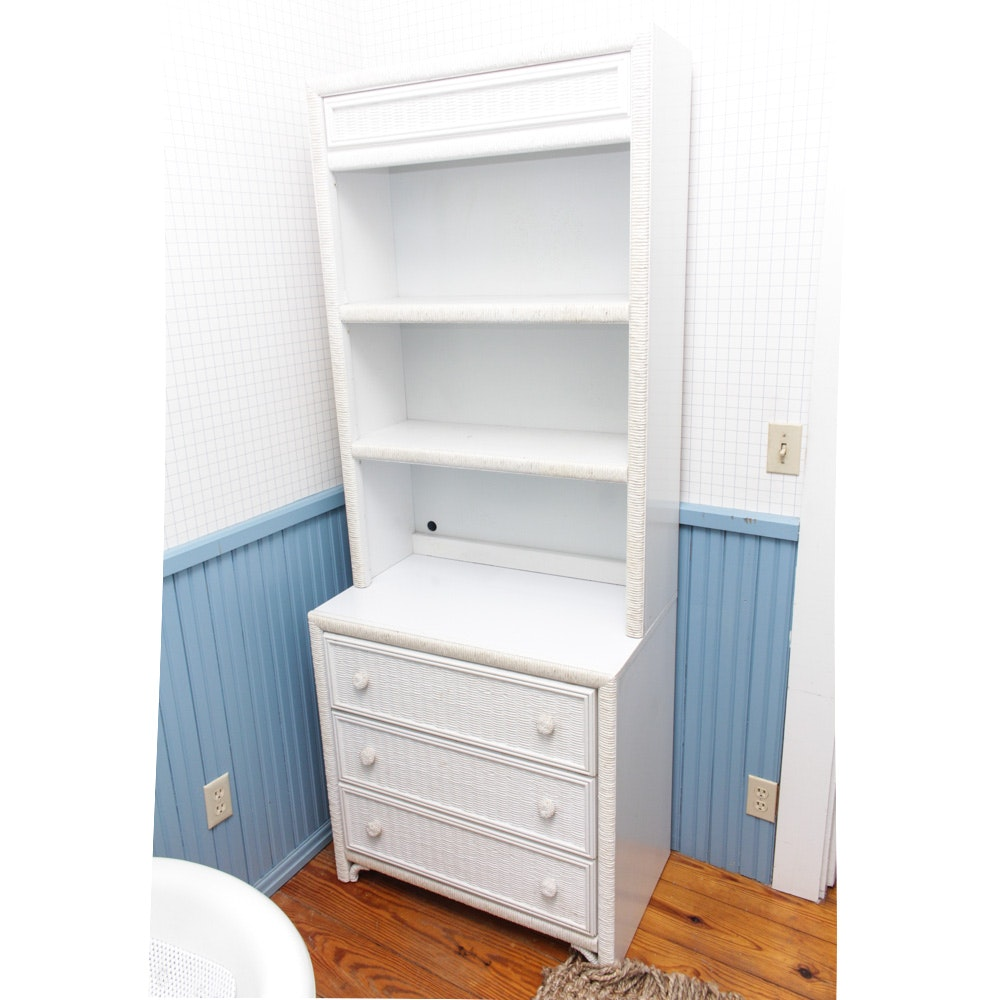 Pair of White Faux Wicker Chest of Drawers with Bookcase