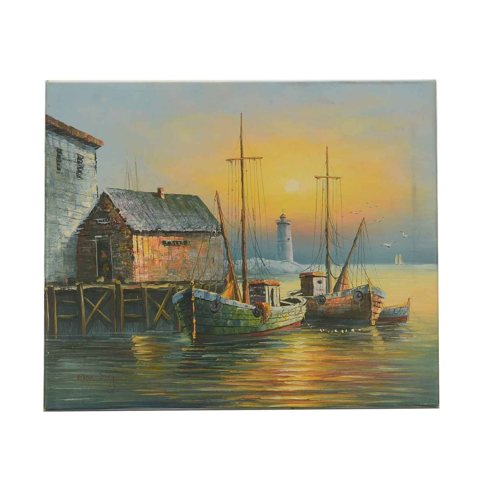 Max Savy Oil Painting of a Seascape at Sunset