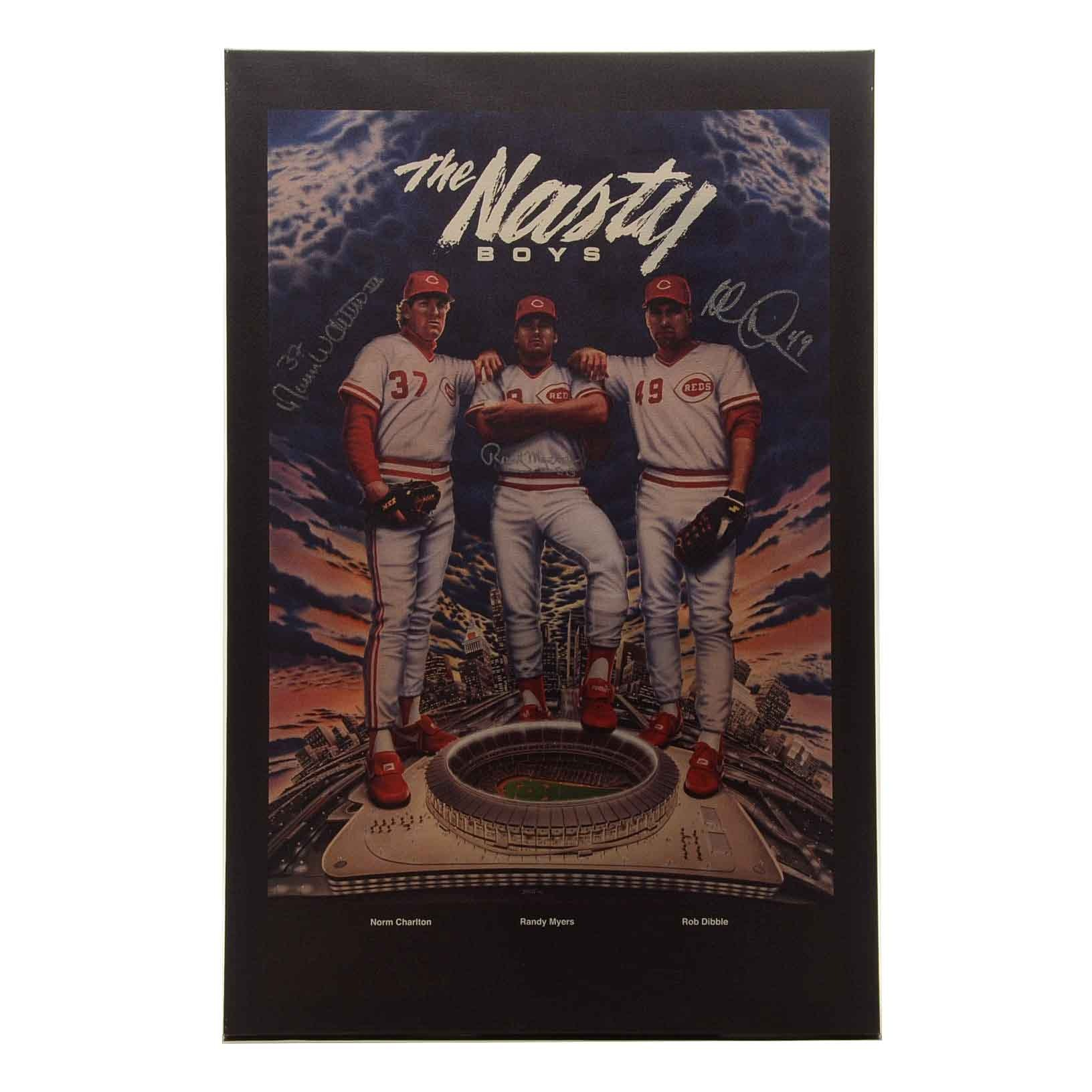 "Cincinnati Reds ""Nasty Boys"" Signed Canvas Poster Print COA"