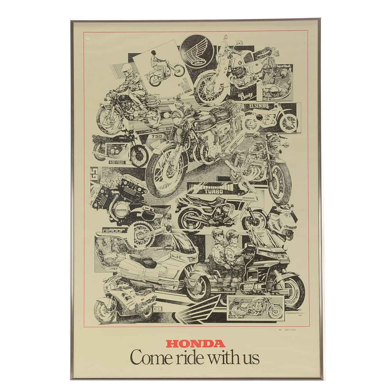 """Honda Lithographic Print Poster """"Come Ride with Us"""""""