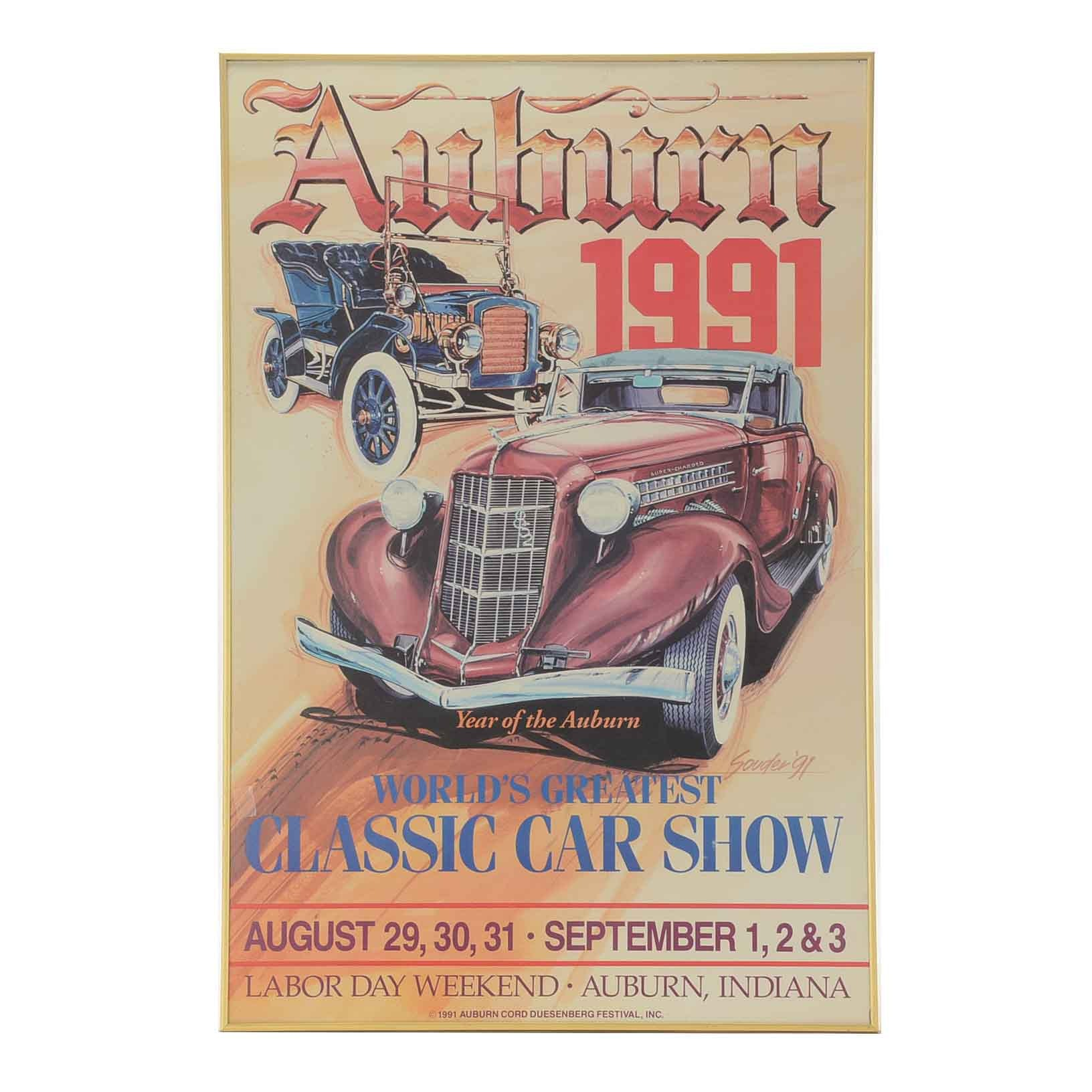 Offset Lithograph Poster for Auburn Car Show 1991