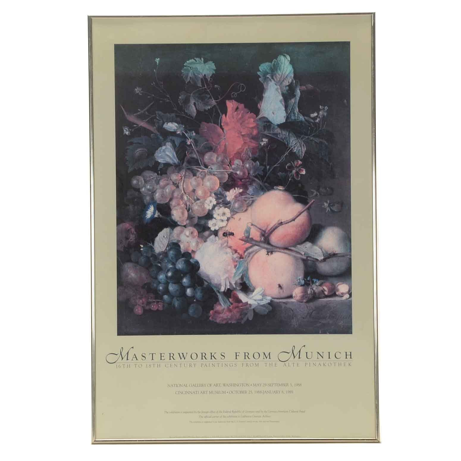 """Offset Lithograph Exibition Poster """"Masterworks from Munich"""""""