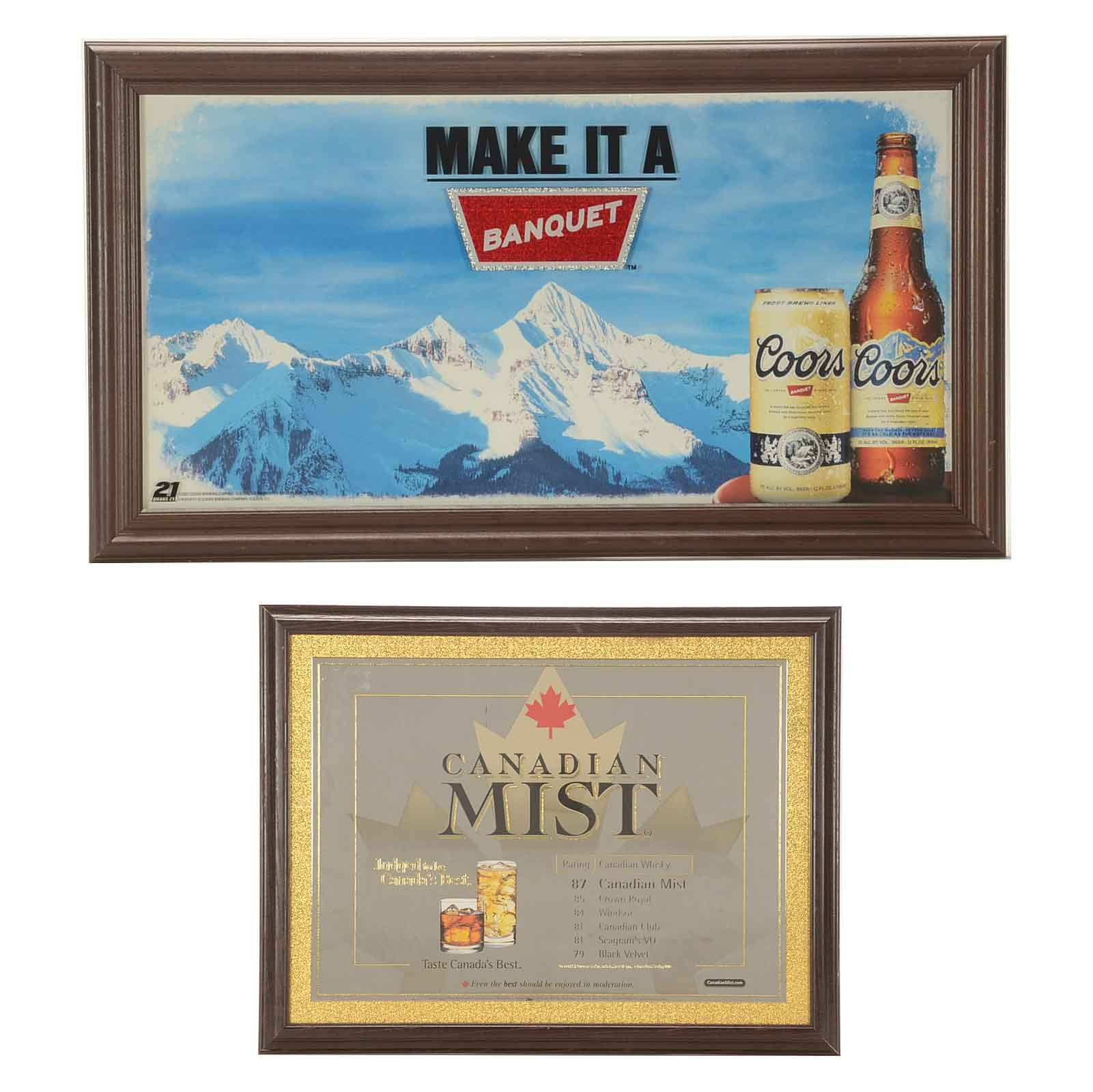 Pair of Framed Alcohol Advertisements