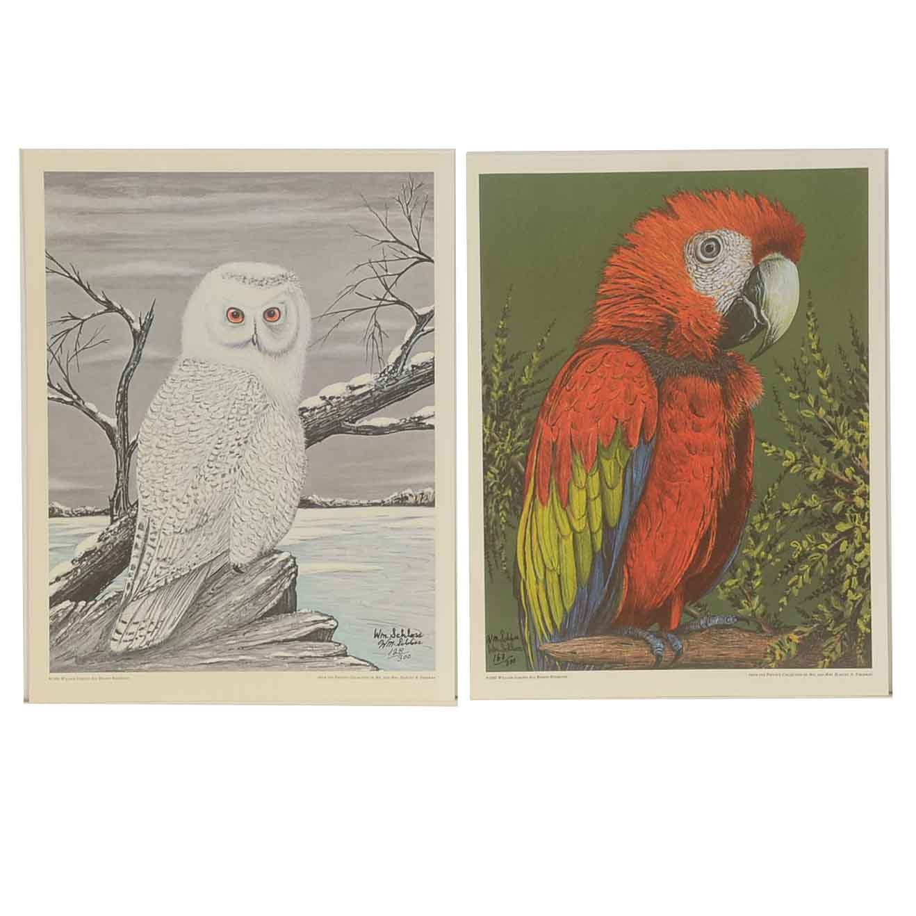 Pair of William Schloss Signed Limited Edition Offset Lithographs of Birds