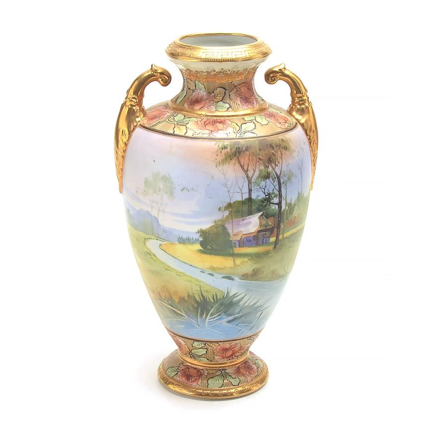 Large Hand Painted Morimura Brothers Nippon Vase Ebth