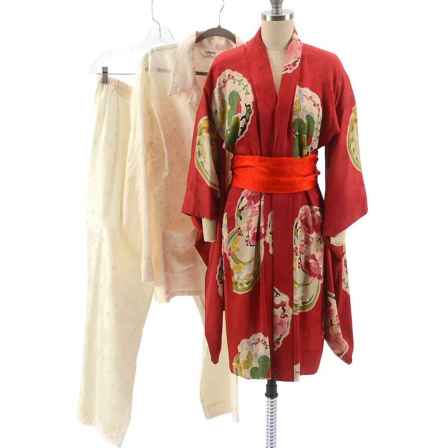 4ddfe0c6f122c3 Vintage Silk Kimono with Silk Blouse and Trousers   EBTH
