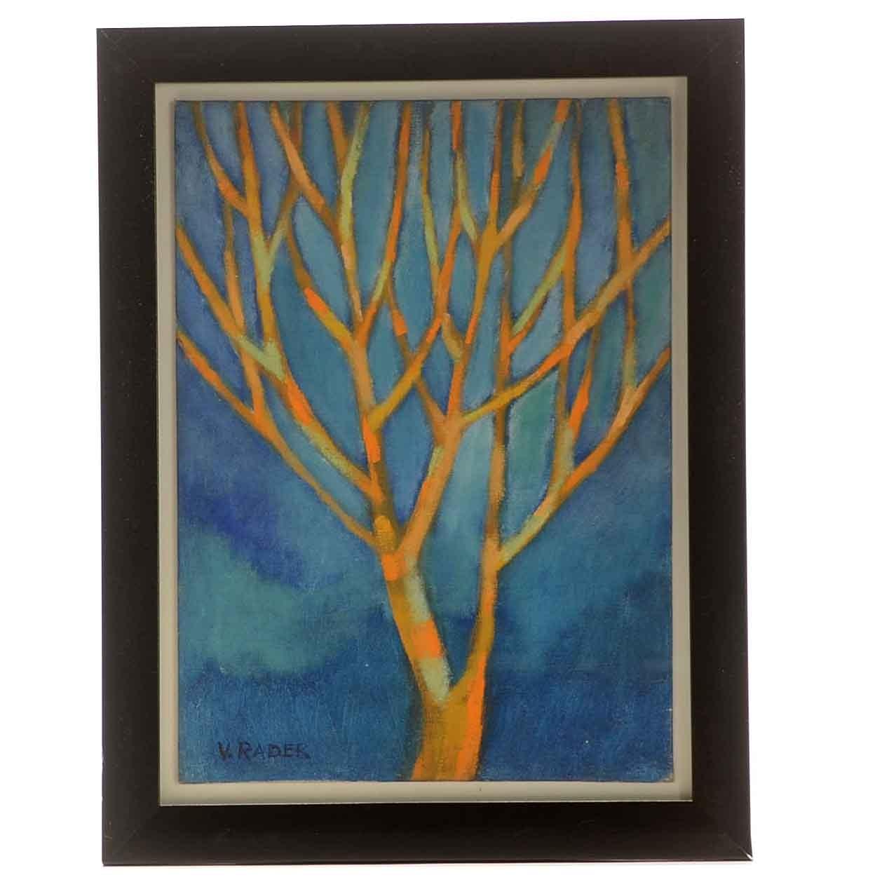 V. Rader Oil Painting of a Tree