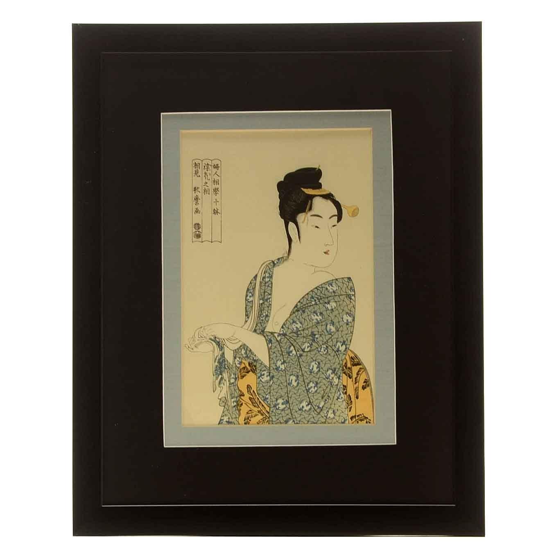 "Woodblock Print After Kitagawa Utamaro ""The Fickle Type"""