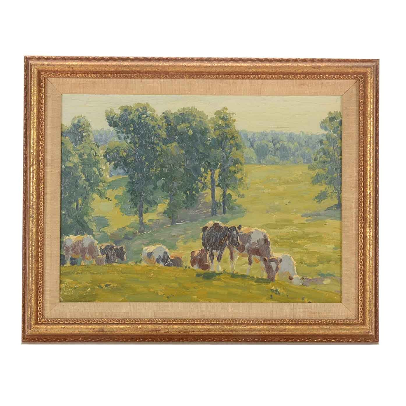 Edward Volkert Oil Painting on Board of Grazing Cows