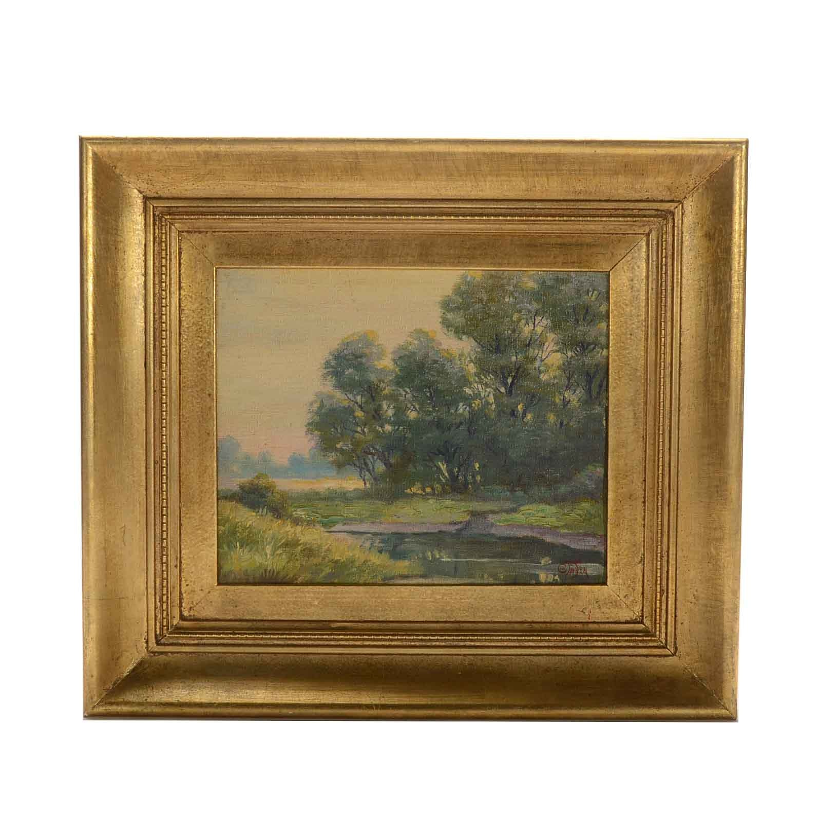 C.W. Fryer Signed Oil Painting of a Landscape at Sunset